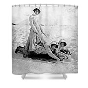 A Woman Rides On Two Friends Shower Curtain