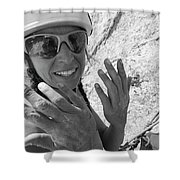 A Woman Rock Climber In Titcomb Basin Shower Curtain