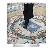 A Woman Rubs Her Heel For Good Luck On The Crest Of The Bull In Galleria Vittorio Emanuele II  Shower Curtain