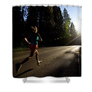A Woman Running On A Country Road Shower Curtain