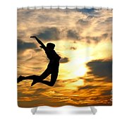 A Woman Showing Her Happiness Shower Curtain by Michal Bednarek