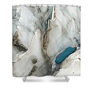 A Woman Sleeping In An Icy Crevasse Shower Curtain