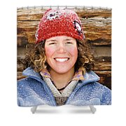 A Woman Stands Against A Log Cabin Shower Curtain