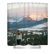 A Woman Stands Against A Snowy Mountain Shower Curtain
