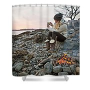 A Woman Takes A Cell Phone Picture Shower Curtain