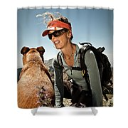 A Woman  Talks To Her Dog While Taking Shower Curtain