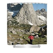 A Woman Trail Running In The Cirque Shower Curtain