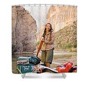 A Woman Unloads Gear From Her Canoe Shower Curtain