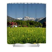 A Woman Walks Through An Alpine Meadow Shower Curtain
