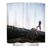 A Women Relaxes And Enjoys The Outdoors Shower Curtain