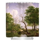 A Wooded River Landscape With Sportsmen In A Rowing Boat Shower Curtain
