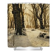 A Wooded Winter Landscape With Deer Shower Curtain by Peder Monsted