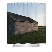 A Wooden Shed In The Middle Of A Grass Shower Curtain