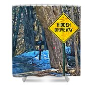A Yellow Diamond Sign With The Words Hidden Driveway On The Side  Shower Curtain