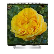 A Yellow Rose Abstract Painting Shower Curtain