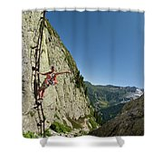 A Youg Woman Poses On A Ladder Bolted Shower Curtain