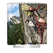 A Young Boy And Climbers In Yosemite Shower Curtain