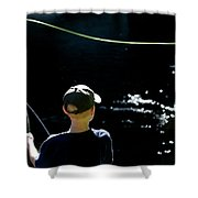 A Young Boy Fly Fishes At Gunpowder Shower Curtain