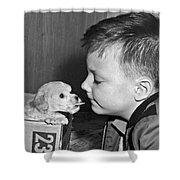A Young Boy Is Face To Face With A Puppy Tongue. Shower Curtain