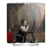 A Young Boy Praying With A Light Beam Shower Curtain