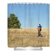 A Young Boy Rides On His Dads Shoulders Shower Curtain