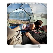 A Young Couple Camping Talk Shower Curtain