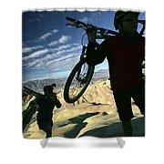 A Young Couple Carry Their Mountain Shower Curtain