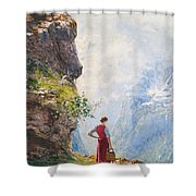 A Young Girl By A Fjord Shower Curtain