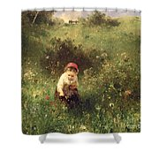A Young Girl In A Field Shower Curtain