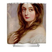 A Young Girl In A White Dress Shower Curtain by Richard Buckner
