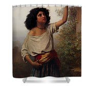 A Young Gypsy Woman With Tambourine  Shower Curtain