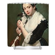 A Young Lady With Two Dogs Shower Curtain