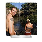 A Young Man And Woman Pause Shower Curtain
