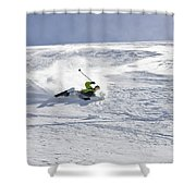A Young Man Falls While Skiing Shower Curtain
