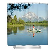 A Young Man Fly Fishes From His Drift Shower Curtain