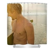 A Young Man Holds A Surfboard Shower Curtain