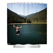 A Young Man Jumps From A Ledge Shower Curtain