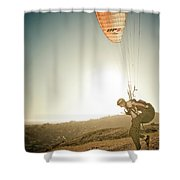 A Young Man Launches His Paraglider Shower Curtain