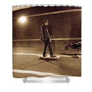 A Young Man On A Skateboard Is Pulled Shower Curtain