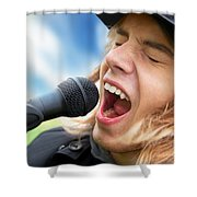 A Young Man Sings To A Microphone Shower Curtain