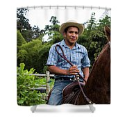 A Young Man Sits On A Horse And Smiles Shower Curtain
