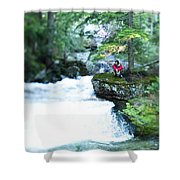 A Young Man Sits Peacefully Taking Shower Curtain