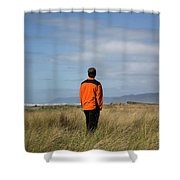 A Young Man Stands In A Field Shower Curtain
