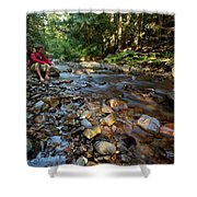 A Young Man Watches A Shallow River Shower Curtain