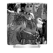A Young Warrior - B W Shower Curtain
