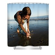 A Young Woman Collects Seashells Shower Curtain