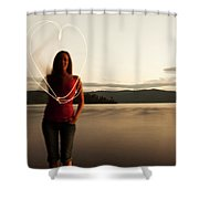 A Young Woman Drawing A Heart At Sunset Shower Curtain