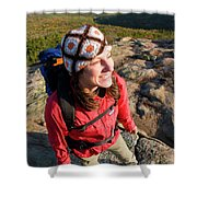 A Young Woman Hiking On Cadillac Shower Curtain