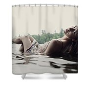 A Young Woman In A White Dress Relaxes Shower Curtain