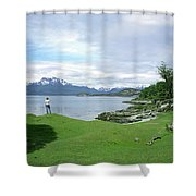 A Young Woman Looks Out Over The Sea Shower Curtain